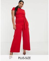Boohoo Красный Комбинезон С Открытыми Плечами И Поясом