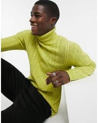 ASOS Lambswool Cable Knit Roll Neck Sweater - Green