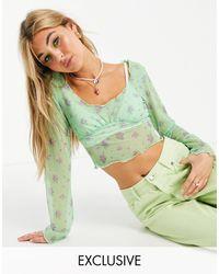 Reclaimed (vintage) Зеленый Лонгслив С Цветочным Принтом И Отделкой На Груди Inspired-зеленый Цвет