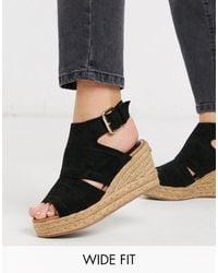 River Island Black Espadrille Wedge Sandals