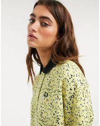 Fred Perry X Precis Botanical Print Oversize Polo Shirt - Yellow