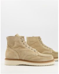 SELECTED Suede Boot With Thick Sole - Natural