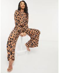 Never Fully Dressed High Neck Puff Sleeve Jumpsuit - Brown