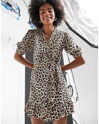 TOPSHOP Animal Print Wrap Midi Dress - Multicolor