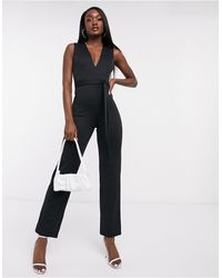 Flounce London Club Plunge Neck Belted Jumpsuit - White