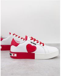 Love Moschino Красно-белые Кроссовки На Плоской Платформе С Сердечками -белый