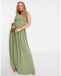 TFNC London - Плиссированное Платье Макси Приглушенного Зеленого Цвета С Высоким Воротом Bridesmaid-зеленый Цвет - Lyst