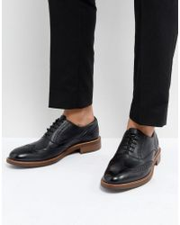 Dune   Pebble Brogues In Black Leather   Lyst