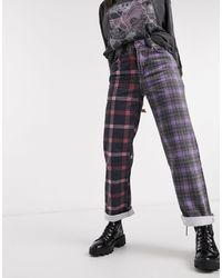 The Ragged Priest – Dad-Jeans aus Half-and-Half-Karomuster-Denim - Lila