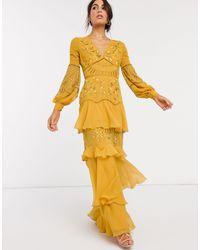 ASOS Ярусное Платье Макси С Вышивкой И Присборенной Отделкой - Желтый