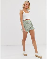 Brave Soul - Floral Printed Ruffle Shorts - Lyst