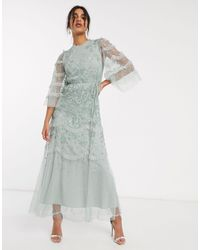 Needle & Thread Embroidered Tiered Maxi Dress With Ruffle Sleeves - Green