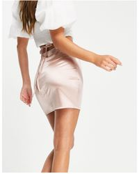 Flounce London Satin Mini Skirt With Strap Details - Pink