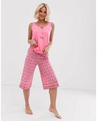 Women'secret Tassel Cami Top And Print Pyjama Bottom Set - Pink