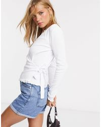 Pieces Ribbed Wrap Top With Lettuce Hem - White