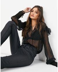 NA-KD Черная Блузка Из Сетчатой Ткани Добби С Оборками -черный