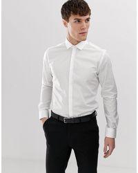 Moss Bros Moss London - Chemise élégante ultra-ajustée avec stretch - Blanc