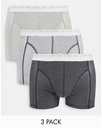 Only & Sons 3 Pack Stripe Trunks - Multicolour