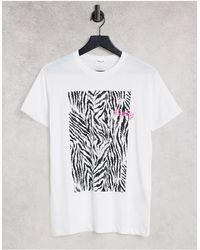 Replay Zebra Graphic Print Tee - White