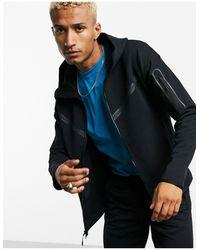 Nike – Tech – Fleece-Kapuzenjacke mit Reißverschluss - Schwarz