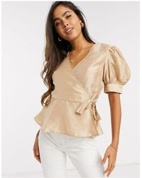 Vero Moda Wrap Blouse With Puff Sleeves - Natural