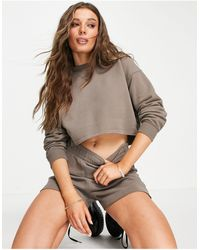 Pull&Bear Crop Sweat And Short Set - Brown
