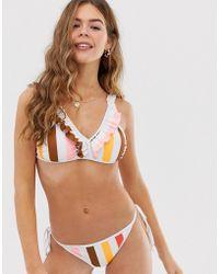 Glamorous - Bikini Tie Up Bikini Bottom In Stripe - Lyst