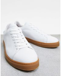 SELECTED Leather Trainers With Gum Sole - White