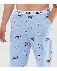 ASOS – Lounge – Pyjama-Shorts mit Hundeprint - Weiß