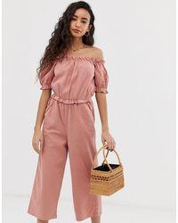 Miss Selfridge Tuta jumpsuit rosa con scollo alla Bardot e maniche a sbuffo