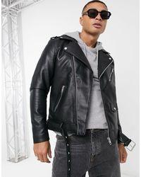 Pull&Bear Faux Leather Biker - Black