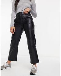 Mango Faux Leather Straight Pants - Black