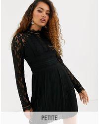 TFNC London Robe courte plissée à col montant et manches longues pour demoiselle d'honneur avec empiècements en dentelle - Noir