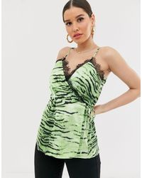 Missguided Wrap Cami Top With Lace Trim - Green