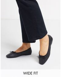 ASOS Wide Fit Layer Leather Bow Ballet Flats - Black