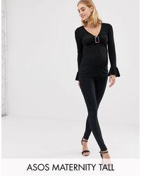 ASOS Asos Design Maternity Tall Over The Bump leggings - Black