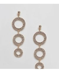 True Decadence - Diamonte Circle Drop Earrings - Lyst