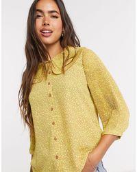 Vero Moda Blusa a pieghe con colletto country e stampa gialla a pois - Giallo