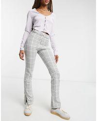 Weekday Alecia - Pantalon ajusté à carreaux - Gris