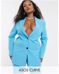 ASOS Asos Design Curve - Blazer Met Knopen - Blauw