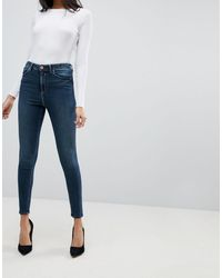 ASOS Ridley High Waisted Skinny Jeans In Aged Blue Wash