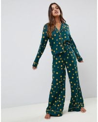 ASOS - Vintage Polka Wide Leg And Shirt Pajama Set In 100% Modal - Lyst