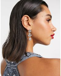 True Decadence Cluther Crystal Statement Drop Earrings - Metallic
