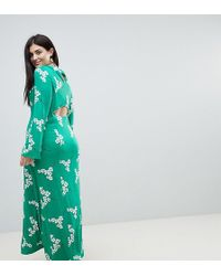 ASOS - Maxi Tea Dress With Open Back In Green Floral - Lyst