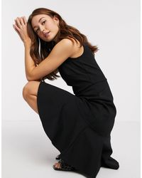 Closet Closet Fitted Midi Dress With Pephem - Black