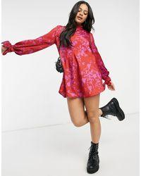 Free People Розовое Платье Мини С Разноцветным Принтом Aries-многоцветный - Красный