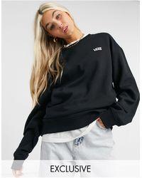 Vans – Left Chest Small Logo – Oversize-Fleece-Sweatshirt - Schwarz