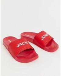 Jack & Jones Красные Шлепанцы С Логотипом - Красный