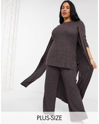 Simply Be Co-ord Longline Cardigan - Brown