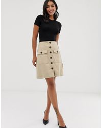 Y.A.S Button Down Skirt - Natural